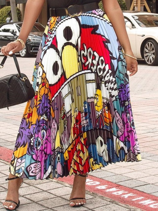 Mid-Calf Pleated Cartoon Pleated Mid Waist Women's Skirt
