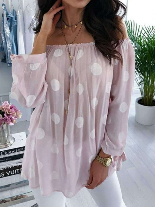 Lantern Sleeve Polka Dots Off Shoulder Women's Blouse