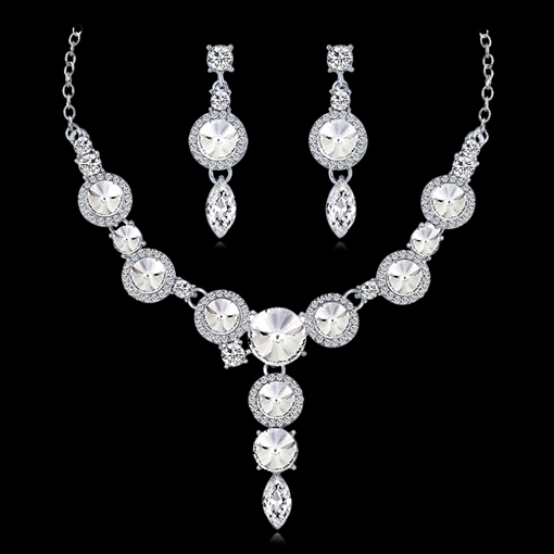 Necklace Earrings Rhinestone Wedding Floral Jewelry Sets