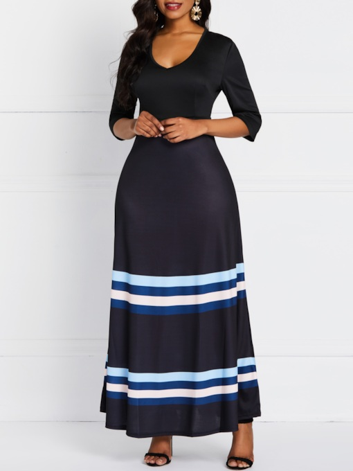 Patchwork Three-Quarter Sleeve Pullover Women's Maxi Dress