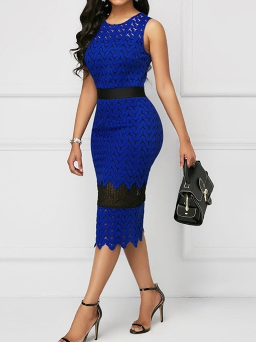 Round Neck Lace Sleeveless Bodycon Women's Maxi Dress