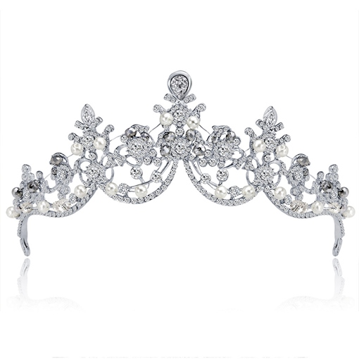 Pearls Rhinestone Wedding Tiara