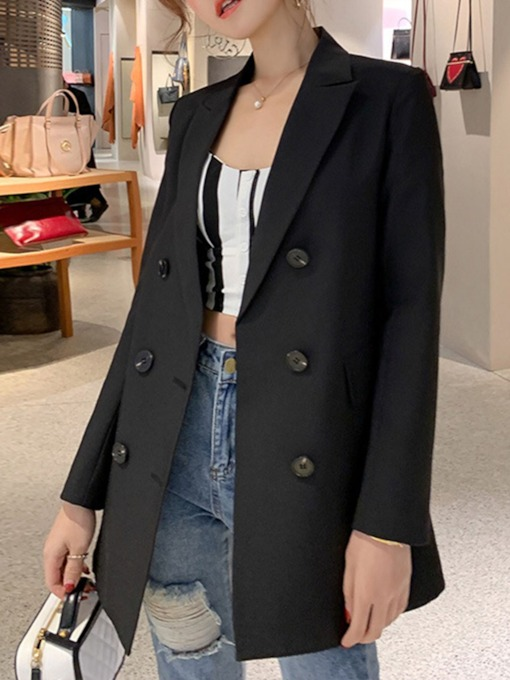 Double-Breasted Plain Notched Lapel Women's Casual Blazer
