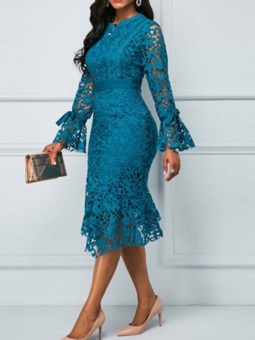 Lace Asymmetric Long Sleeve Mid-Calf Women's Bodycon Dress