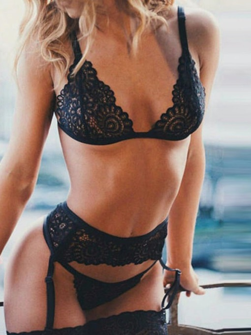 Floral Hollow Lace Sexy Bra Set
