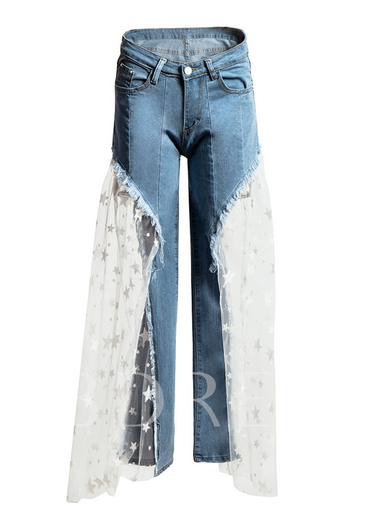 Patchwork Star Wide Legs High Waist Women's Jeans