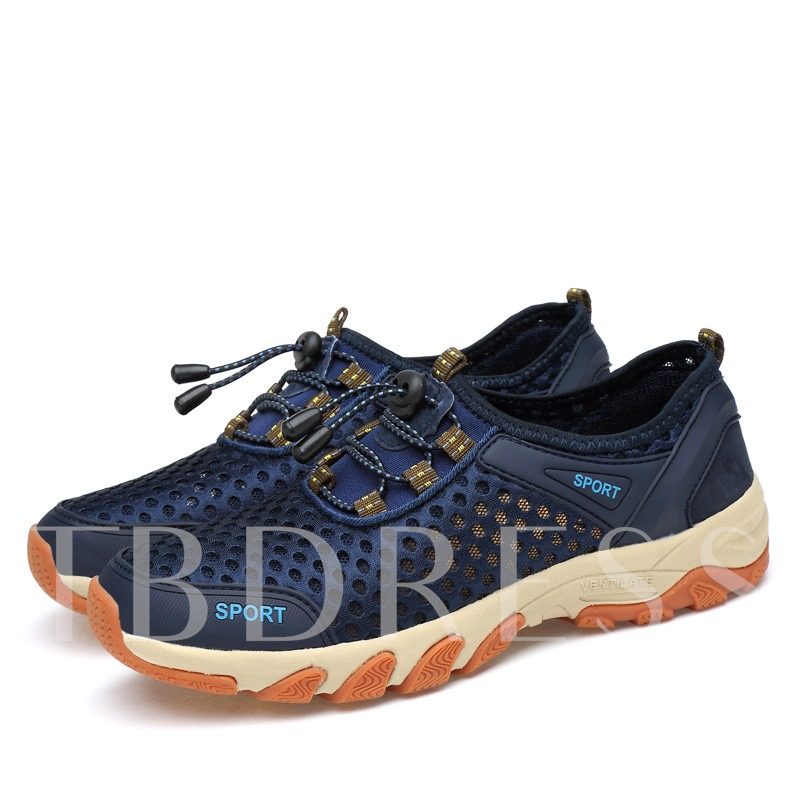 Mesh Breathable Lace-Up Flat With Round Toe Men's Sneakers