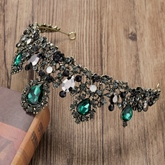 Gemmed Korean Tiara Green Hair Accessories (Wedding)