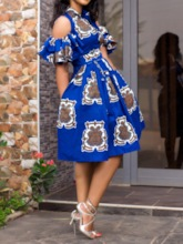 African Fashion Print Half Sleeve Expansion Geometric Women's Party Dress
