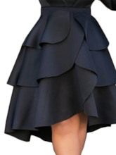 Falbala Plain Knee-Length Cupcake Skirts Casual Women's Skirt