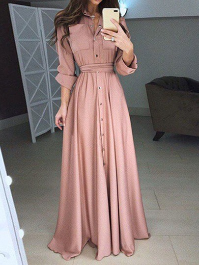 Long Sleeve Lapel Split High Waist Womens Maxi Dress Long Sleeve Lapel Split High Waist Women's Maxi Dress