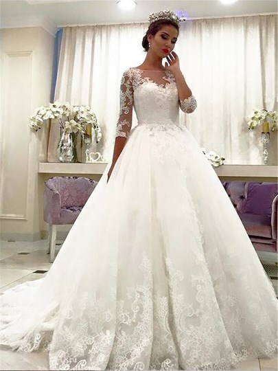 Appliques Ball Gown Bateau Neckline Wedding Dress 2019 Appliques Ball Gown Bateau Neckline Wedding Dress 2019
