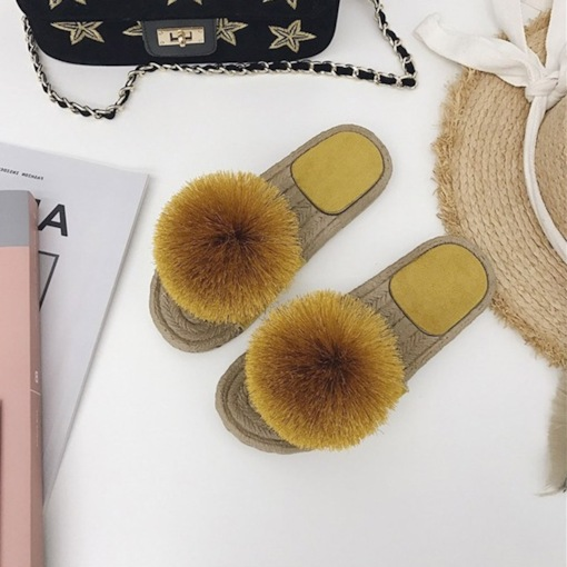 Candy Color Pompon Flal Casual Women's Summer Sandals