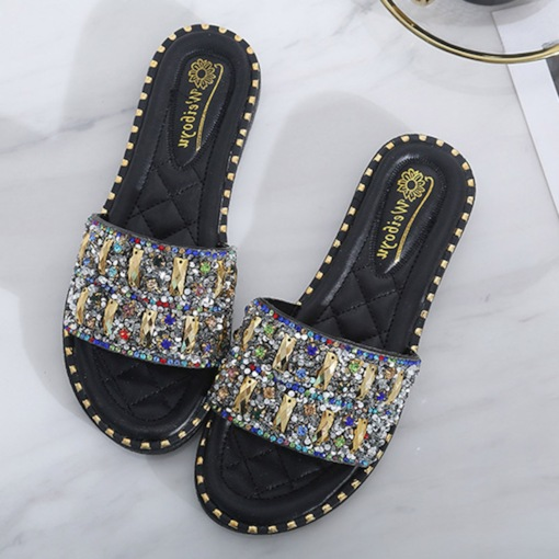 Flat With Flip Flop Rhinestone Slip-On Women's Summer Sandals