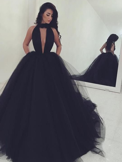 Sleeveless Ball Gown Sweep Train Halter Prom Dress 2019