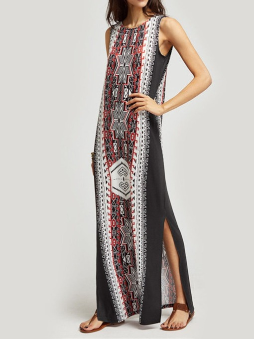 Round Neck Patchwork Sleeveless Pullover Women's Maxi Dress