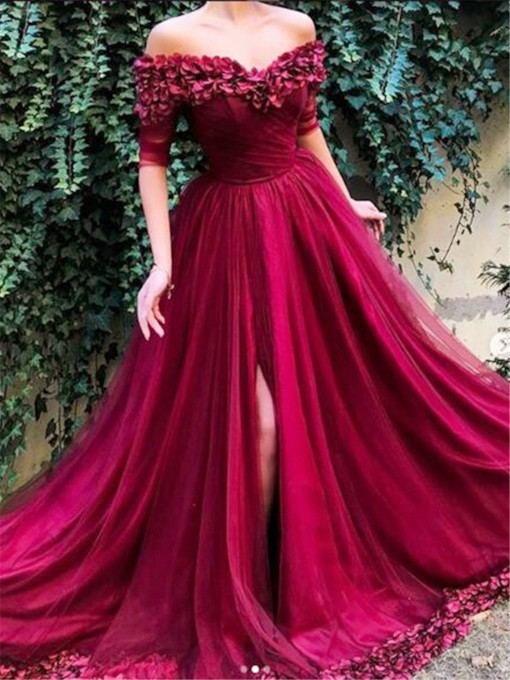 Off-The-Shoulder A-Line Pleats Floor-Length Prom Dress 2019