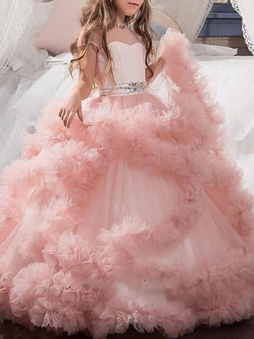 Short Sleeve Beading Ruffles Ball Gown Flower Girl Dress 2019