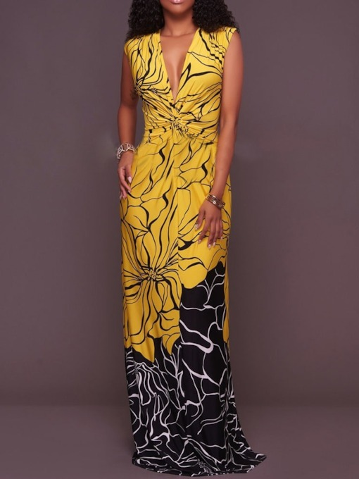 Pleated V-Neck Floral Sleeveless Women's Maxi Dress