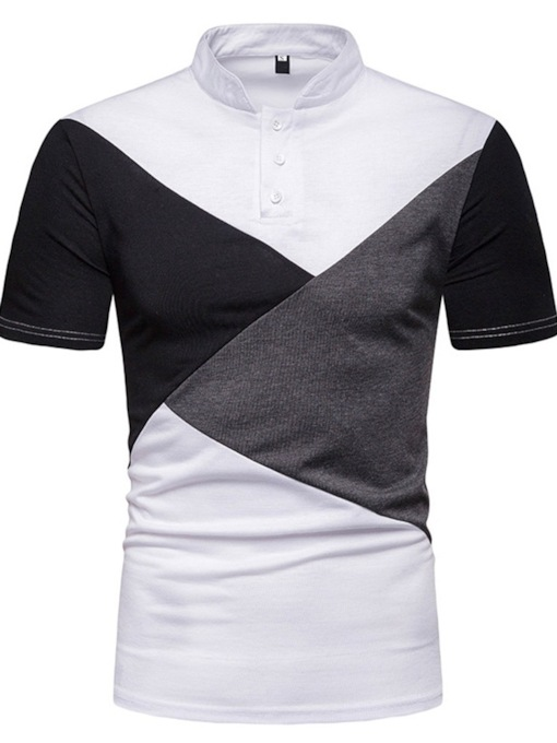 Color Block Stand Collar Casual Patchwork Men's Polo Shirt
