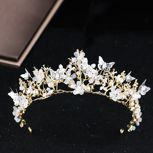Butterfly Pearl Inlaid Tiara Bridal Hair Crown