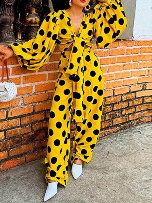 Full Length Polka Dots Lace-Up Wide Legs Women's Jumpsuit