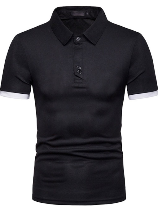Casual Patchwork Color Block Men's Polo Shirt