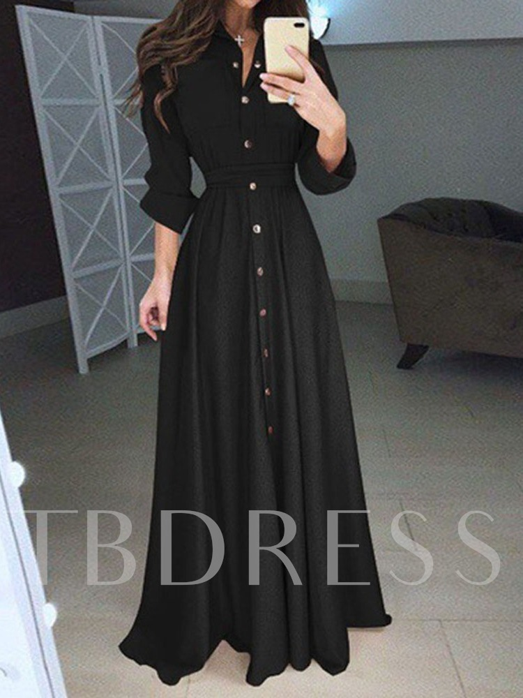 Long Sleeve Lapel Split High Waist Women's Maxi Dress