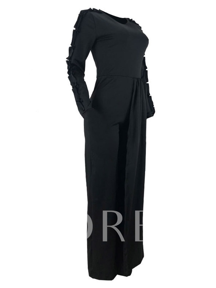 Patchwork Full Length Plain Fashion Mid Waist Women's Jumpsuit