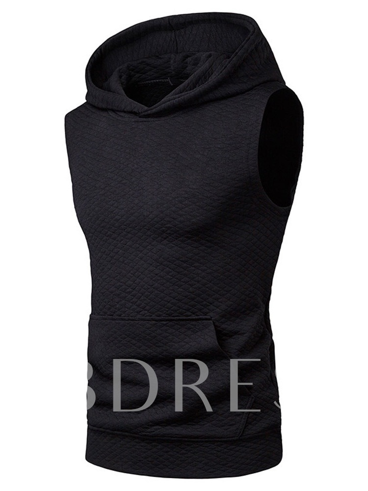 Slim Plain Pocket Hooded Casual Men's Vest