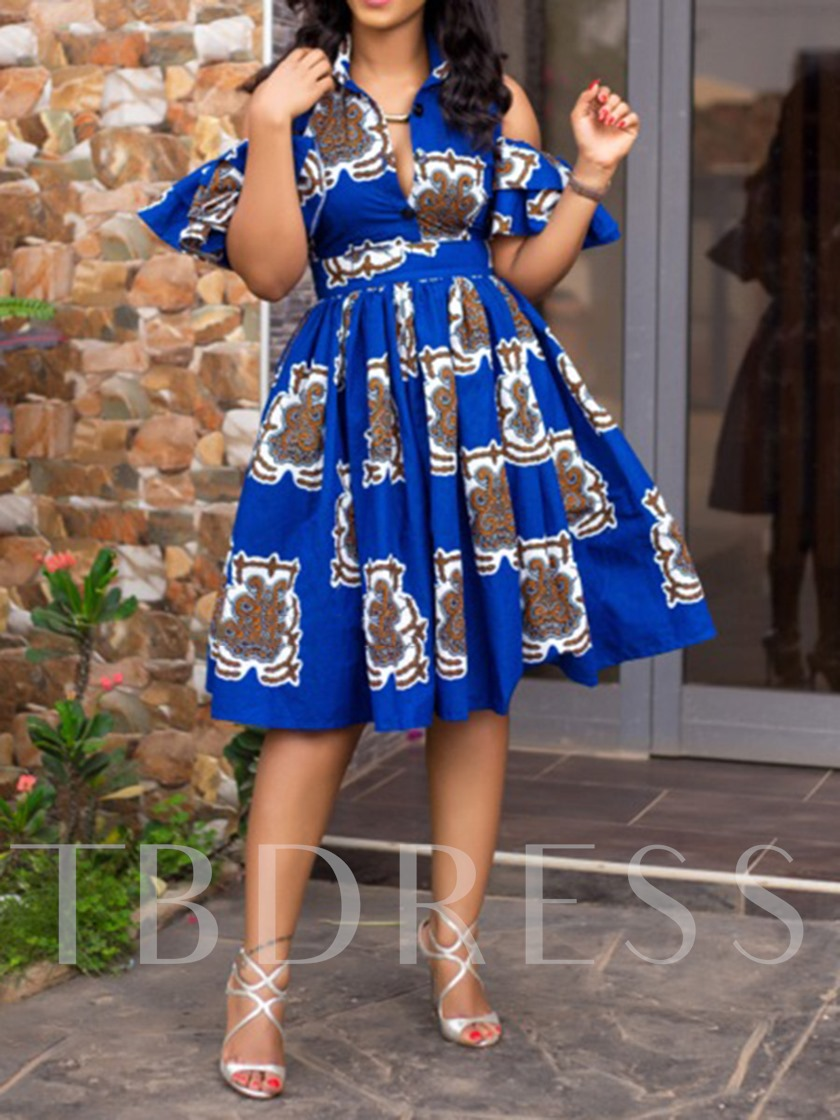 Print Half Sleeve Expansion Geometric Women's Party Dress