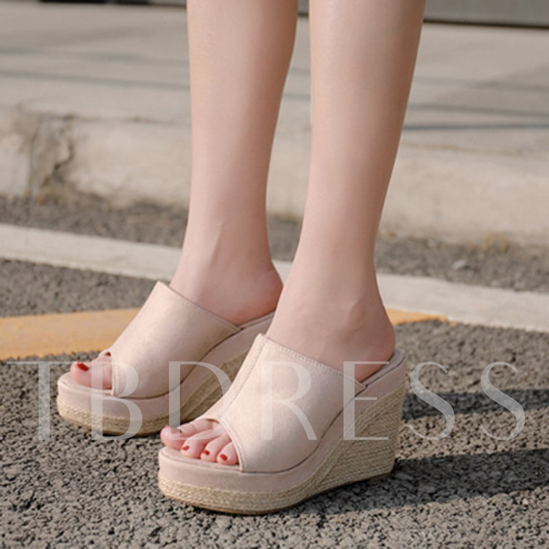 Woven Slip-On Wedge Heel Women's Sandals