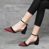 Buckle Pointed Toe Buckle Chunky Heel Color Block Sandals