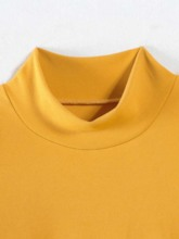 Stand Collar Plain Puff Sleeve Slim Women's T-Shirt