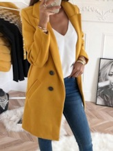 Notched Lapel Button Mid-Length Women's Overcoat