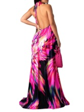 Backless Sleeveless Floral Prints Women's Maxi Dress