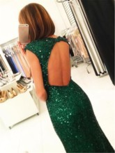 Sheath Cap Sleeves Backless Sequins Evening Dress 2019