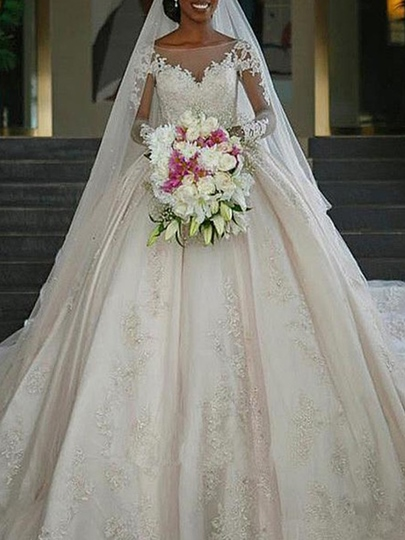 Cathedral Train Ball Gown Appliques Long Sleeve Wedding Dress 2019 Cathedral Train Ball Gown Appliques Long Sleeve Wedding Dress 2019