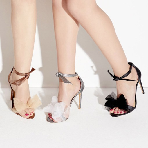 Stiletto Heel Heel Covering Open Toe Lace-Up Ribbon Sandals