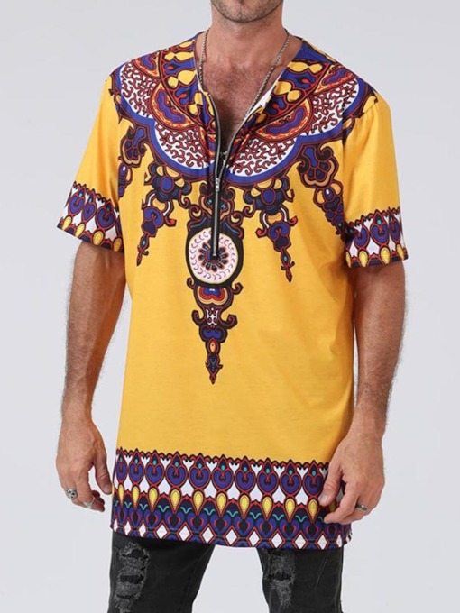 Print Floral African Ethnic Style Short Sleeve Men's T-shirt