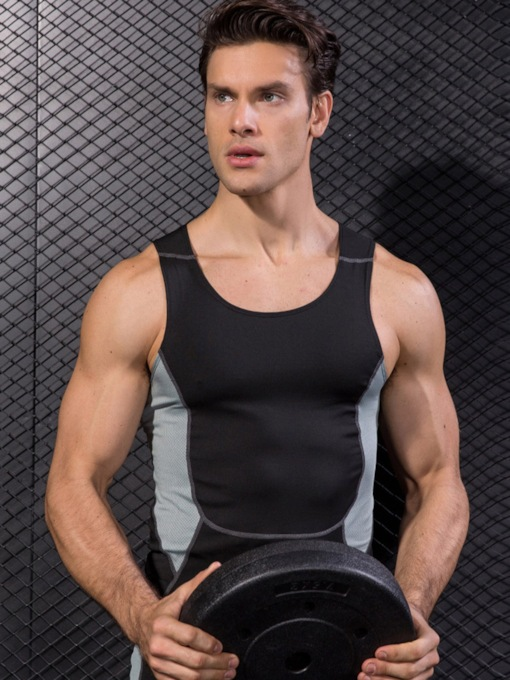 Color Block Breathable Sleeveless Men's Tops