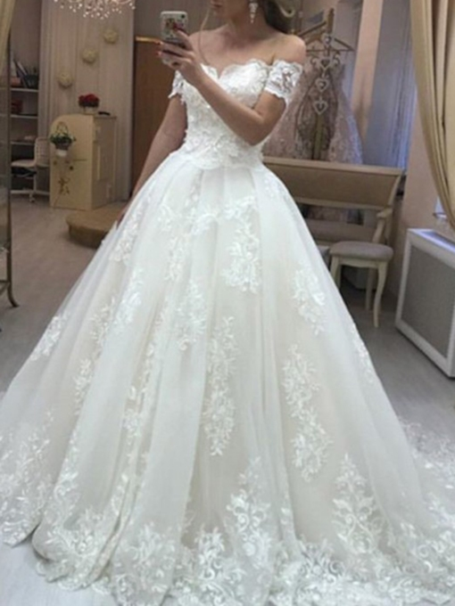 Ball Gown Off-The-Shoulder Appliques Wedding Dress 2019