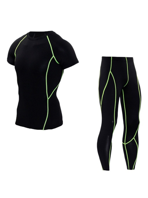 Anti-Sweat Stripe Patchwork Running Clothing Sets