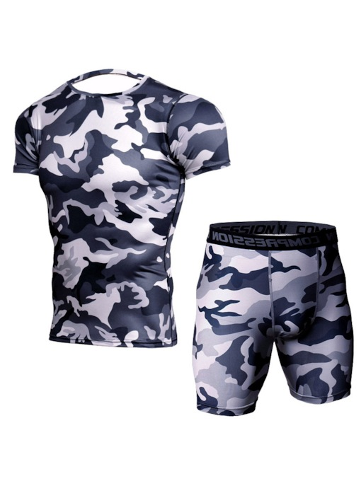 Anti-Sweat-Print Kurzarm Shorts Basketball Kleidung Sets