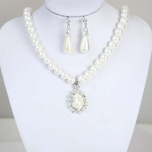 Necklace Pearl Inlaid Floral Wedding Jewelry Set