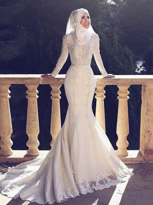 Long Sleeve Mermaid Appliques Muslim Wedding Dress 2019