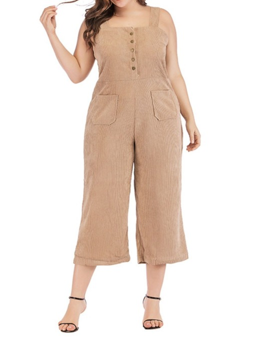 Button Ankle Length Date Night Plain Loose Women's Jumpsuit