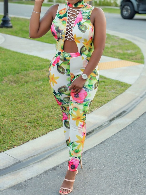 Floral Full Length Travel Look Backless Skinny Women's Jumpsuit