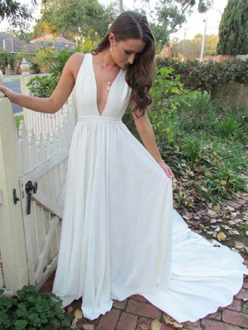 Deep V-Neck Chiffon Beach Wedding Dress