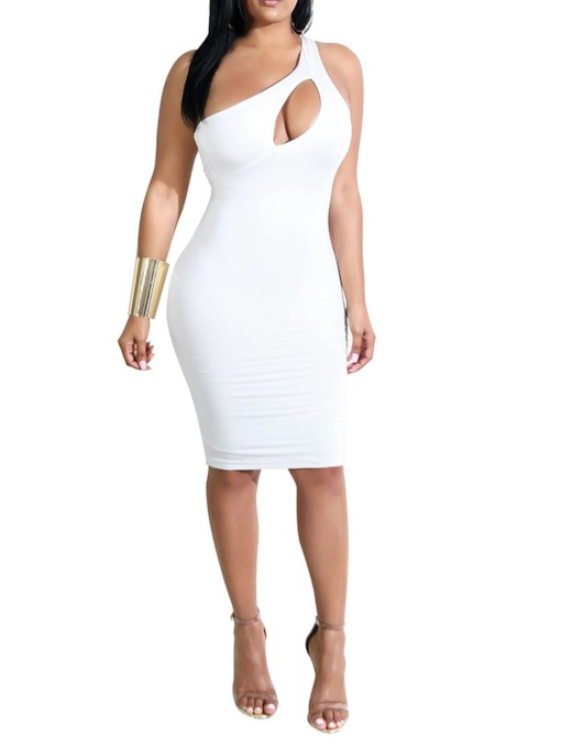 Sleeveless Oblique Collar Hollow Women's Bodycon Dress